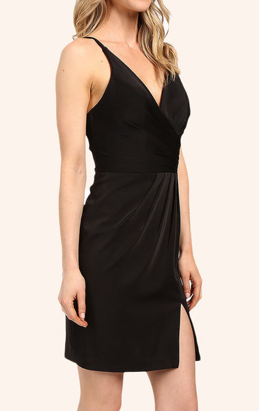 MACloth Straps V Neck Chiffon Cocktail Dress Little Black Dress
