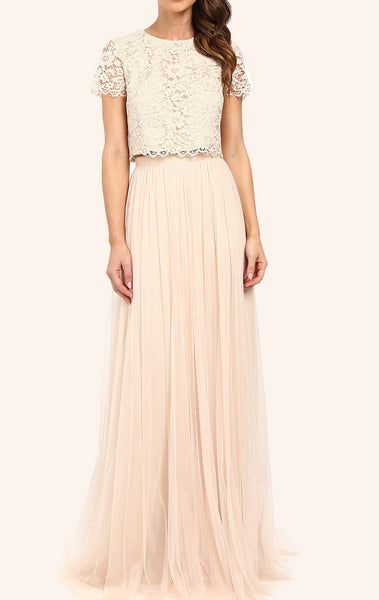 MACloth Two Piece Lace Tulle Long Bridesmaid Dress Champagne Formal Gown