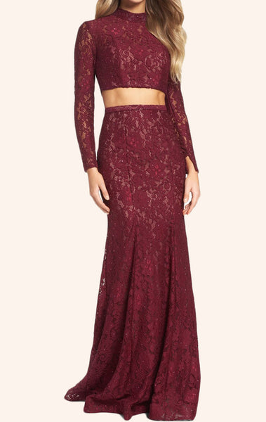 MACloth Two Piece Long Sleeves Lace Prom Dress Burgundy Formal Gown