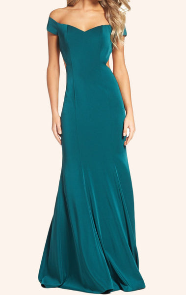 MACloth Off the Shoulder Mermaid Jersey Prom Dress Turquoise Formal Gown