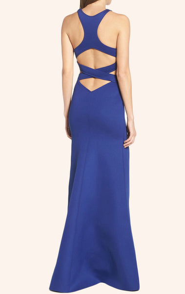 MACloth Mermaid Sexy Jersey Prom Dress with Slit Royal Blue Formal Gown