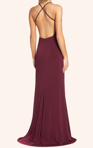 MACLoth Straps V Neck Sheath Jersey Prom Dress Burgundy Formal Gown