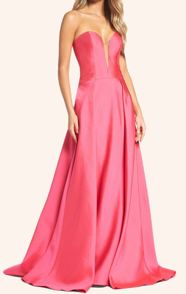 MACloth Strapless Sweetheart Long Prom Dress Pink Formal Gown