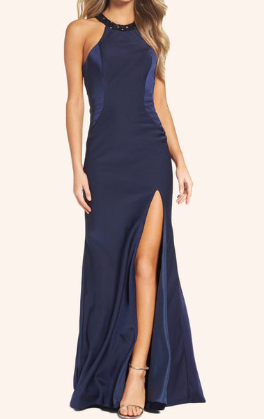MACloth Halter Long Prom Dress with Slit Sexy Dark Navy Formal Gown