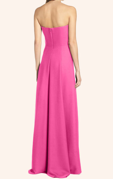 MACloth Strapless High Low Satin Prom Dress Fuchsia Formal Gown