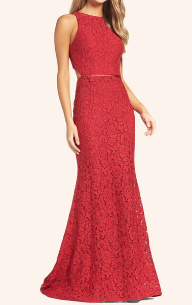 MACloth Mermaid O Neck Lace Prom Dress Red Formal Gown