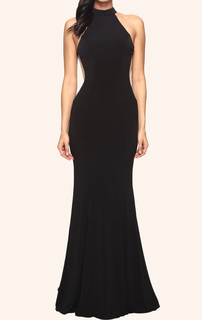 MACloth Mermaid Halter Jersey Prom Dress Black Formal Evening Gown
