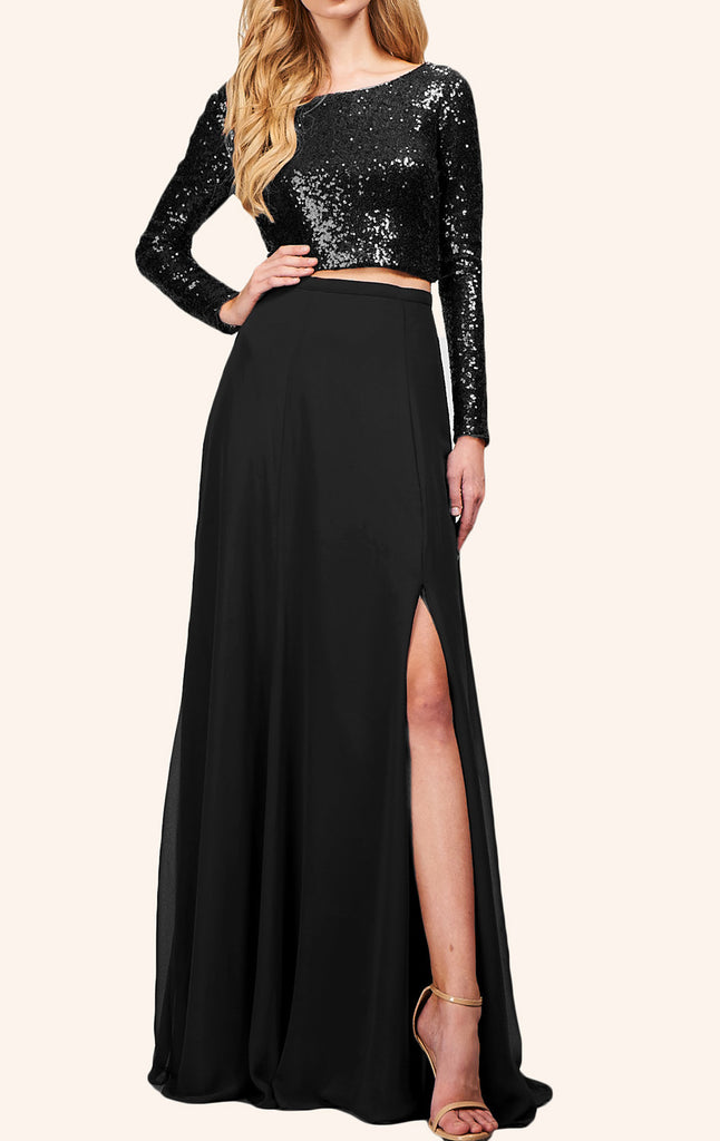 MACloth Two Piece Long Sleeves Sequin Prom Dress Black Formal Gown