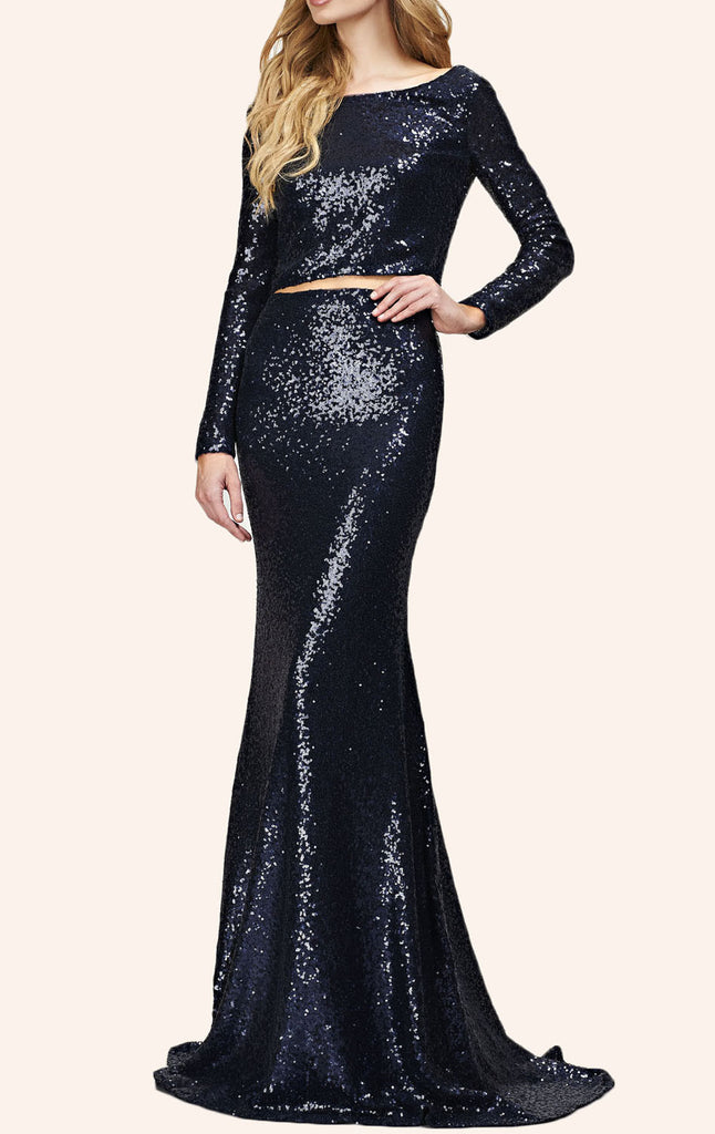 MACloth Two Piece Sequin Long Prom Dress Dark Navy Formal Gown