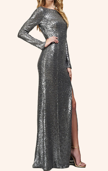 MACloth Long Sleeves Deep V Neck Sequin Evening Gown Gray Prom Dress