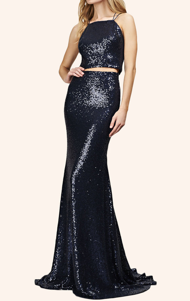 MACloth Mermaid Two Piece Sequin Long Prom Dress Dark Navy Formal Gown