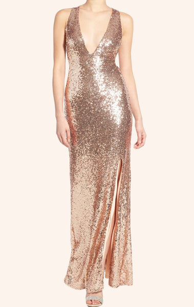 MACloth Straps V neck Sheath Sequin Bridesmaid Dress Rose Gold Formal Gown