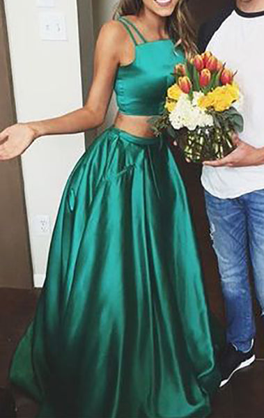 MACloth Two Piece Satin Long Prom Dress Green Formal Gown
