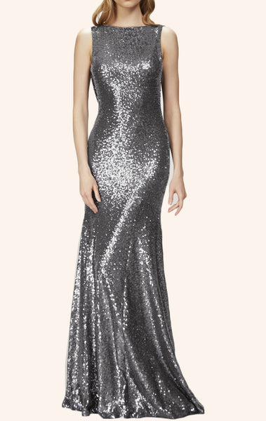 MACloth Mermaid Cowl Back Sequin Long Bridesmaid Dress  Formal Gown