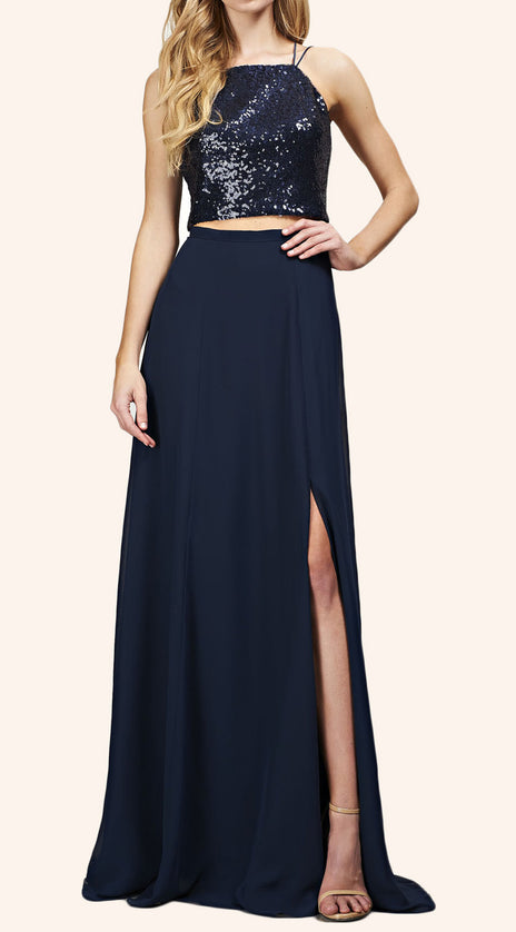 MACloth Two Piece Sequin Chiffon Long Bridesmaid Dress Simple Prom Gown