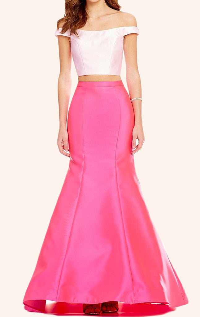 MACloth Off the Shoulder Two Piece Satin Prom Dress Pink Formal Gown
