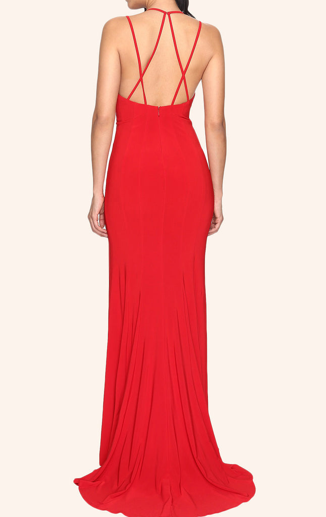 b100cd339f77 MACloth Sheath V Neck Sexy Jersey Prom Dress Red Formal Gown