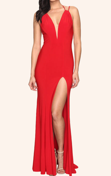 MACloth Sheath V Neck Sexy Jersey Prom Dress Red Formal Gown