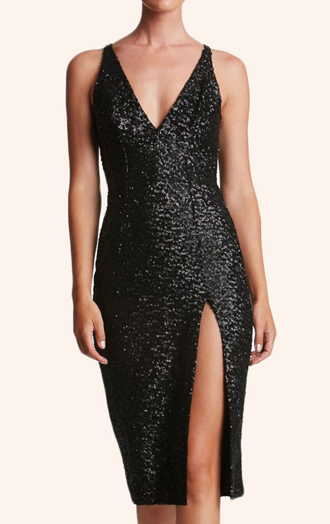 MACloth Straps V neck Sequin Cocktail Dress Little Black Dress