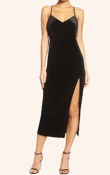 MACloth Straps V Neck Velvet Cocktail Dress Little Black Dress