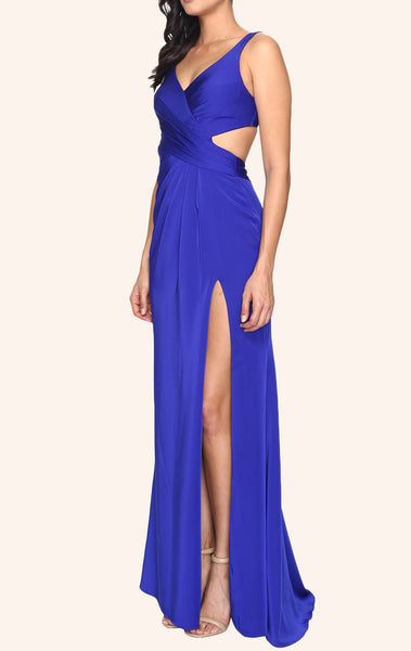 MACloth Straps V Neck Jersey Long Prom Dress Royal Blue Formal Gown