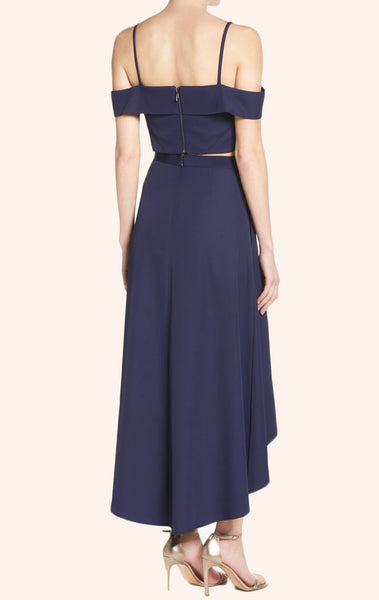 MACloth Off the Shoulder Two Piece High Low Prom Dress Navy Cocktail Dress
