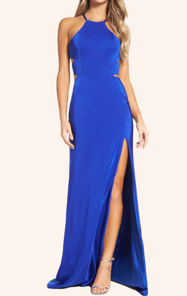 MACloth Halter Sheath Jersey Long Prom Dress with Slit Royal Blue Evening Gown