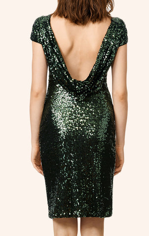 MACloth Cap Sleeves Sequin Cocktail Dress Dark Green Short Bridesmaid Dress
