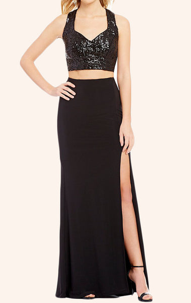 MACloth Two Piece Sequin Jersey Long Prom Dress Black Formal Gown