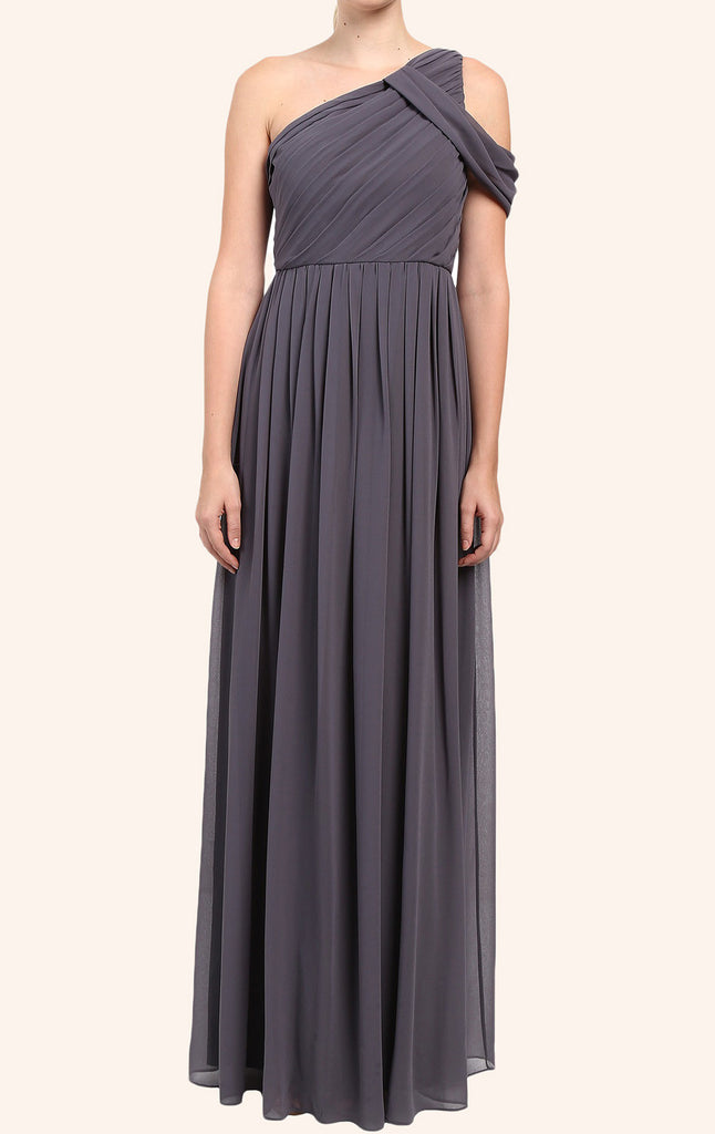 MACloth One Shoulder Chiffon Long Bridesmaid Dress Gray Formal Gown