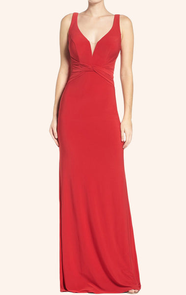 MACloth Straps V Neck Jersey Long Prom Dress Red Formal Evening Gown