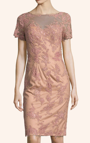 MACloth Short Sleeves Lace Cocktail Dress Peach Mother of the Brides Dress