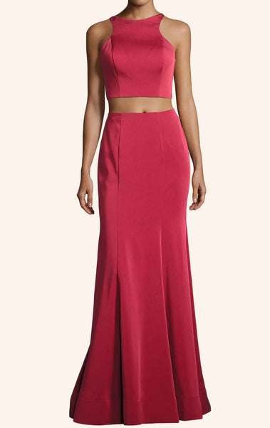 MACloth Two Piece Jersey Long Prom Dress Red Formal Evening Gown
