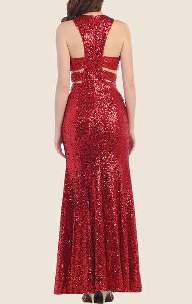 MACloth O Neck Sequin Long Prom Dress Red Formal Gown
