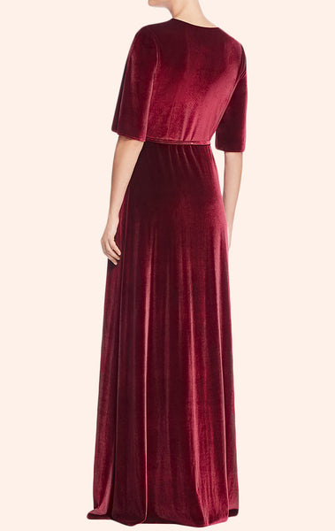 MACloth Deep V Neck Velvet Evening Gown Burgundy Formal Party Dress