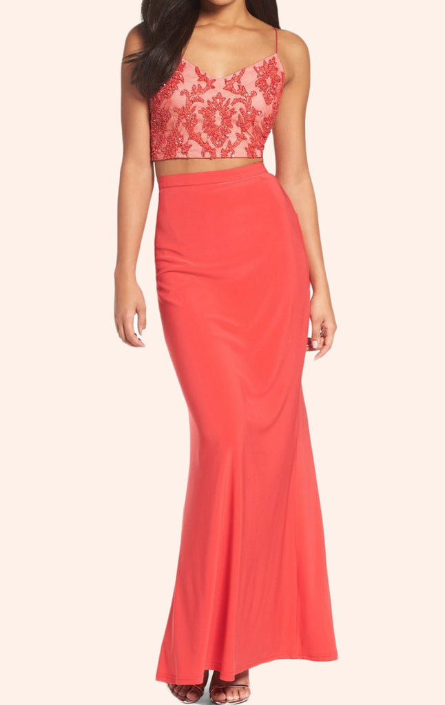 MACloth Two Piece Lace Jersey Long Prom Dress Coral Formal Gown
