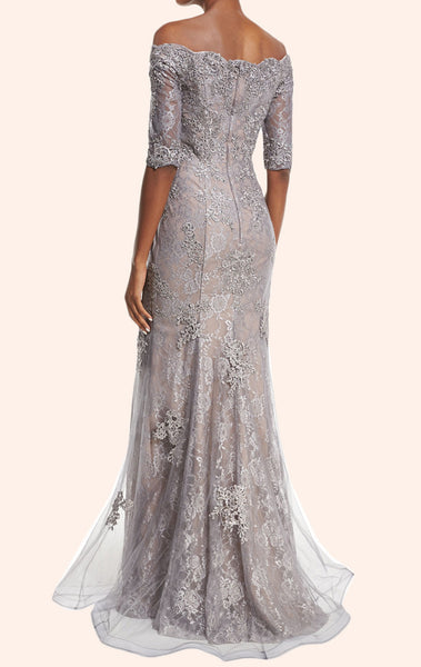 MACloth Off the Shoulder Half Sleeves Lace Mother of the Brides Dress Silver Formal Gown