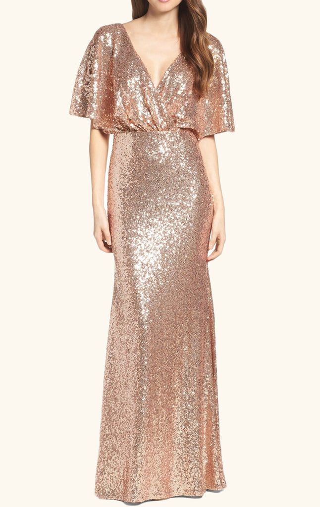 MACloth V Neck Sequin Long Bridesmaid Dress Rose Gold Formal Evening Gown