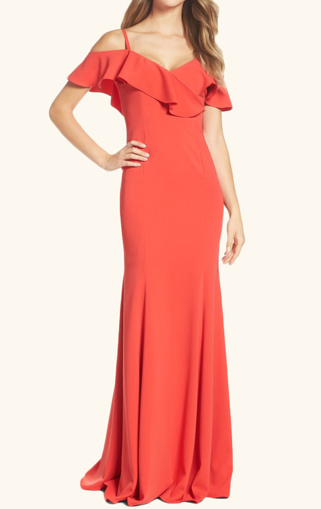 MACloth Off the Shoulder Jersey Long Prom Dress Coral Formal Evening Gown