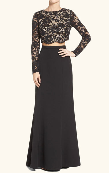 MACloth Long Sleeves Two Piece Lace Long Prom Dress Black Formal Evening Gown