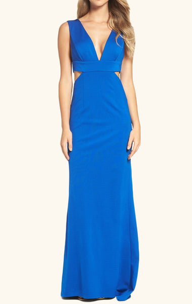 MACloth Straps V Neck Sheath Jersey Long Prom Dress Royal Blue Formal Gown
