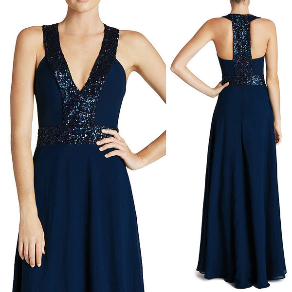 MACloth Straps V Neck Sequin Chiffon Prom Dress Dark Navy Formal Gown