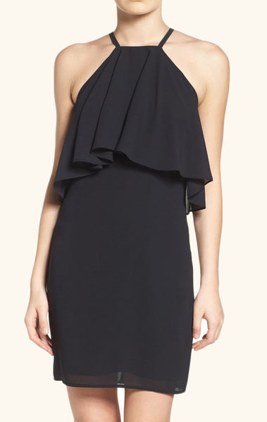 MACloth Halter Tiered Chiffon Cocktail Dress Little Black Dress