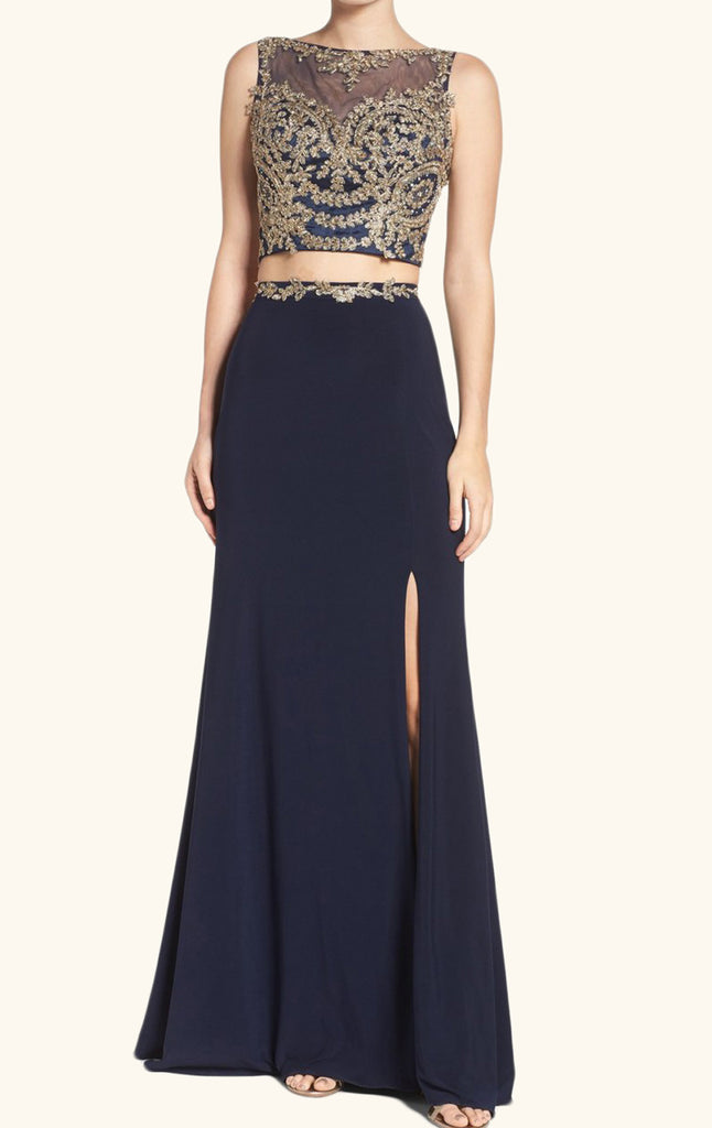 MACloth Two Piece Lace Jersey Long Prom Dress Dark Navy Formal Evening Gown