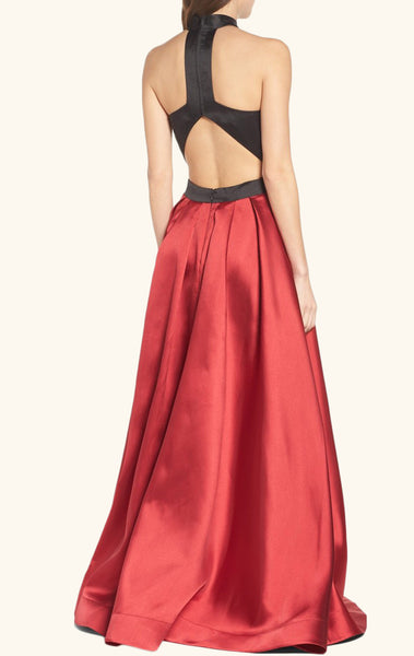MACloth High Neck Two Tone Satin Long Prom Dress Formal Evening Gown