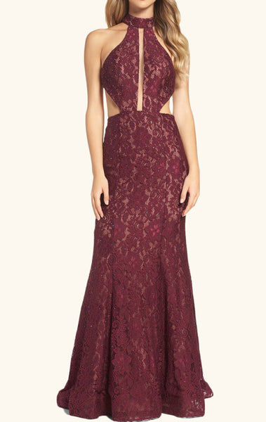 MACloth Halter Lace Long Prom Dress with Cut Out Burgundy Formal Evening Gown