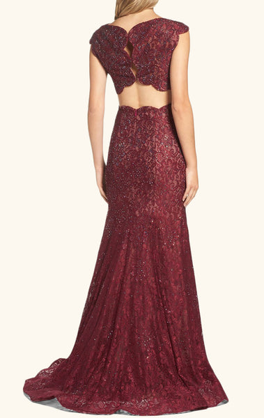 MACloth Two Piece Cap Sleeves Lace Prom Dress Burgundy Formal Evening Gown