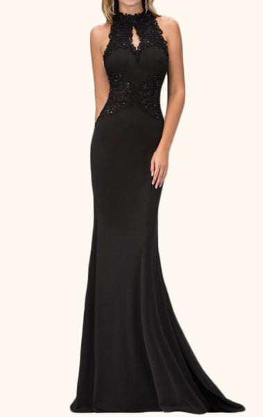 MACloth Mermaid High Neck Lace Jersey Prom Dress Long Formal Evening Gown