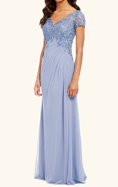MACloth V Neck Lace Chiffon Mother of the Brides Dress Sky Blue Evening Gown