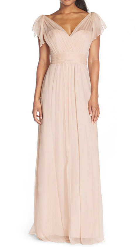 MACloth Cap Sleeves V Neck Chiffon Long Bridesmaid Dress Pearl Pink Fomral Gown
